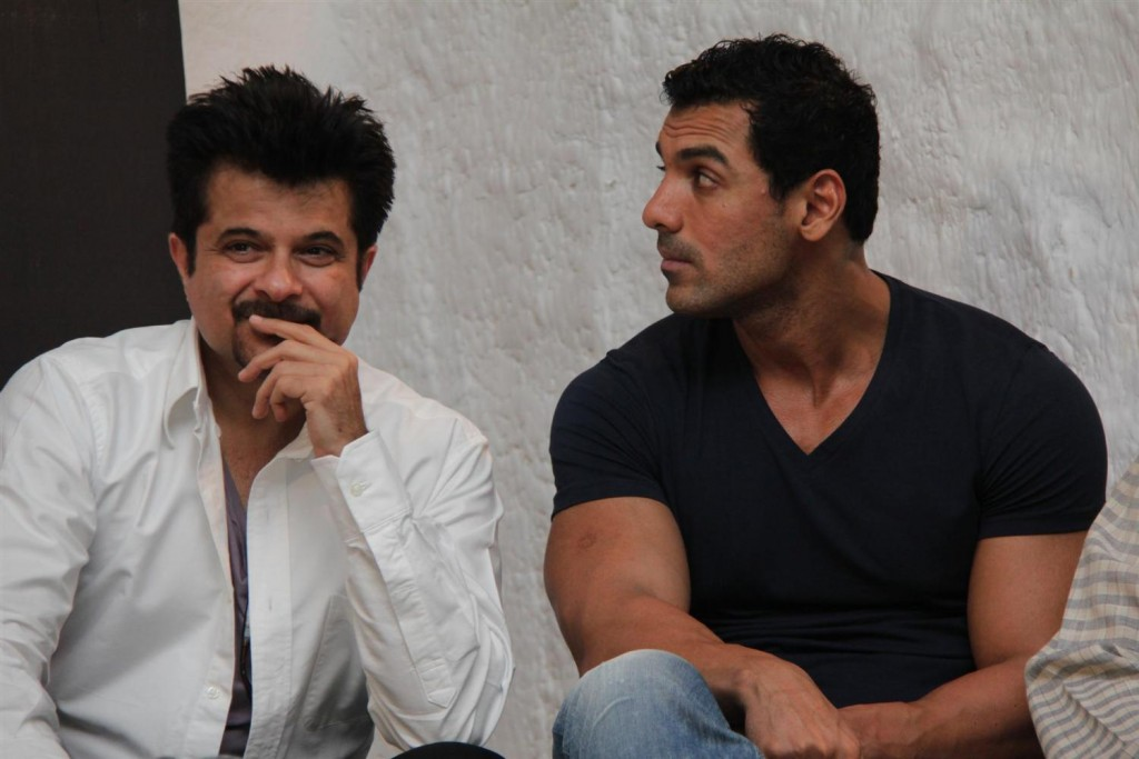 Anil Kapoor with John Abraham at the launch of book Dongri to Dubai by Hussain Zaidi at Olive Bar and Kitchen in Mumbai