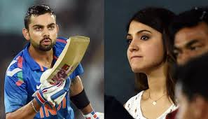 Virat Kohli  blows  Anushka Sharma a flying kiss during one of the matches